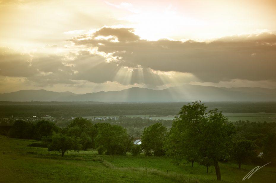 Sonnenuntergang über den Vogesen