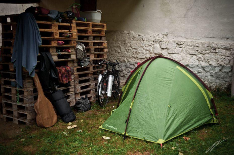 Camping mit Möbeln