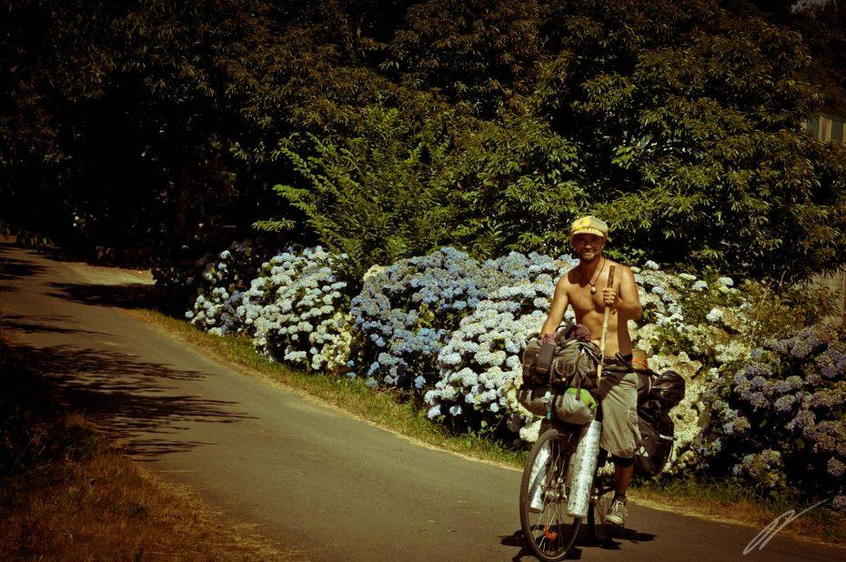 lässiger Radfahrerpilger