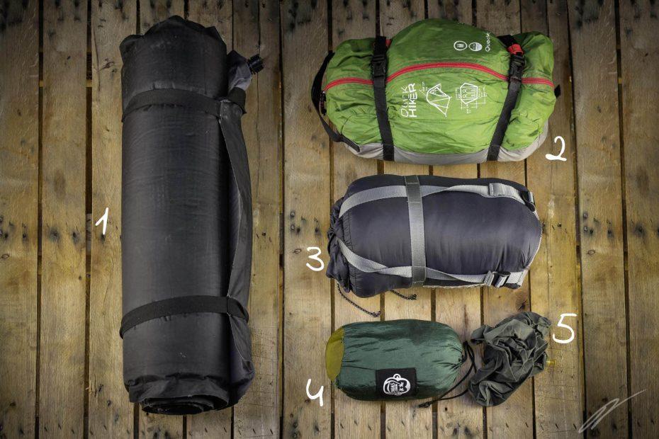 Campingequipment für eine Fahrradreise